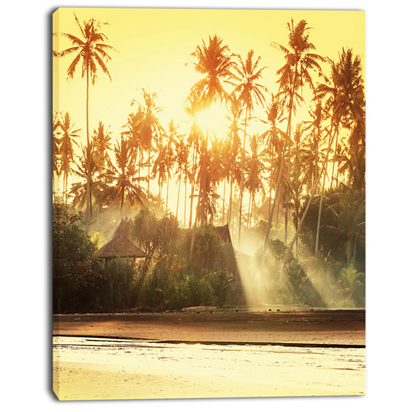 Designart Bamboo Huts On Tropical Island LandscapeCanvas Art Print