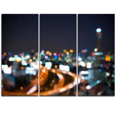Designart Bangkok City At Twilight Cityscape Triptych Canvas Print