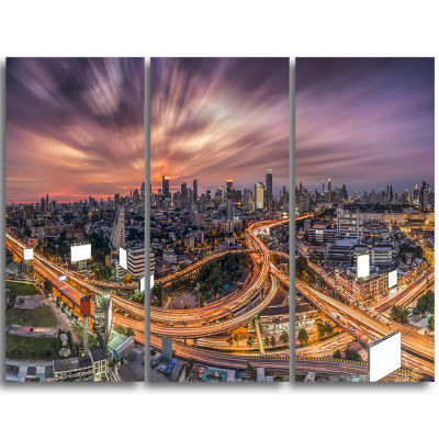 Designart Bangkok S Shaped Express Way Cityscape Triptych Canvas Art Print