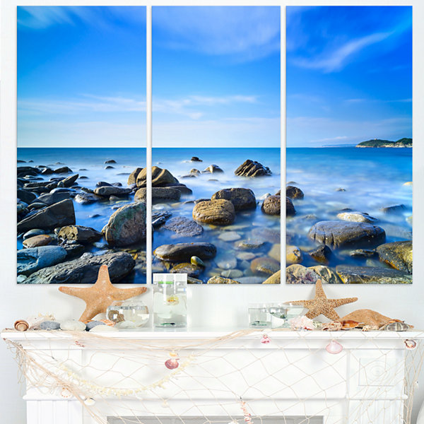 Designart Baratti Bay Rocks In Waters At Sunset Extra Large Seashore Triptych Canvas Art
