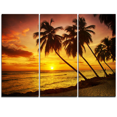 Designart Barbados Island Evening Seashore ModernSeascape Triptych Canvas Artwork