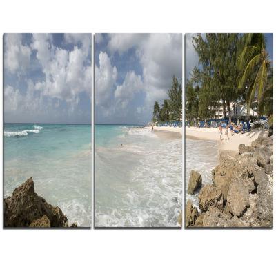 Designart Barbados Island White Seashore Modern Seascape Triptych Canvas Artwork