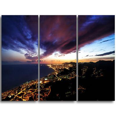 Designart Barcelona Skyline Panorama Cityscape Triptych Canvas Art Print