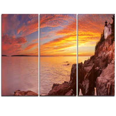Designart Bass Harbor Head Lighthouse Panorama Modern Seascape Triptych Canvas Artwork