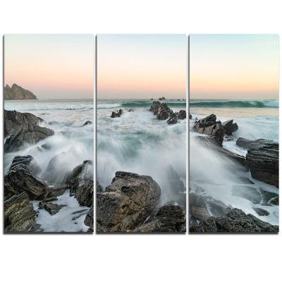 Designart Bay Of Beaky Vibrant White Waves ModernSeashore Triptych Canvas Art