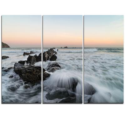 Designart Bay Of Biscay White Waves Hitting BeachSeashore Triptych Canvas Art Print