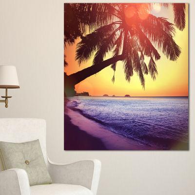 Designart Beach With Silhouettes Of Palms SeashoreCanvas Art Print - 3 Panels