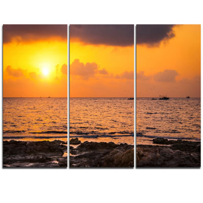 Designart Beautiful African Rocky Coast OversizedBeach Triptych Canvas Artwork