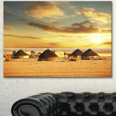 Designart Beautiful African Village Huts African Landscape Canvas Art Print - 3 Panels