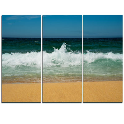 Designart Beautiful Atlantic Beach Portugal Seashore Triptych Canvas Art Print
