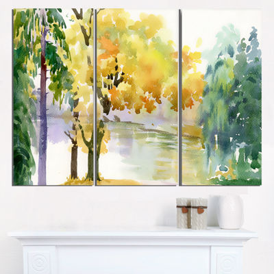 Designart Beautiful Autumn Forest Watercolor Landscape Triptych Canvas Art Print