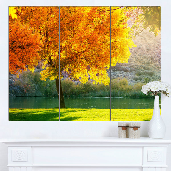 Designart Beautiful Autumn Season In Forest ExtraLarge Landscape Canvas Art - 3 Panels