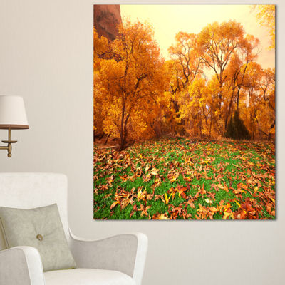 Designart Beautiful Autumn With Green Grass Oversized Landscape Canvas Art - 3 Panels