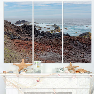 Designart Beautiful Azores Rocky Coast Extra LargeSeashore Triptych Canvas Art