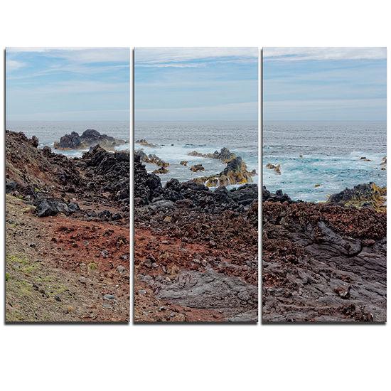 Designart Beautiful Azores Rocky Coast Extra LargeSeashore Triptych Canvas Art