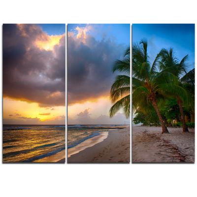 Designart Beautiful Beach With Palms In Barbados Modern Seascape Triptych Canvas Artwork