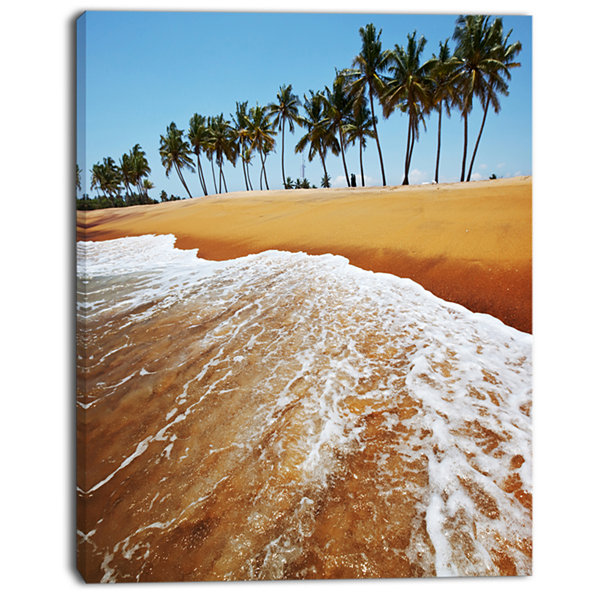 Designart Beautiful Beach With Row Of Palms Seascape Canvas Art Print