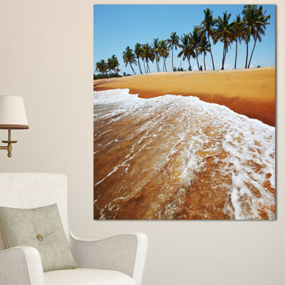 Designart Beautiful Beach With Row Of Palms Seascape Canvas Art Print - 3 Panels