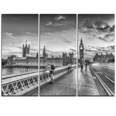 Designart Beautiful Black And White London View Cityscape Triptych Canvas Print