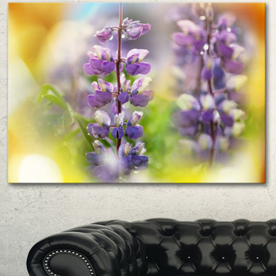 Designart Beautiful Blue Lupin Flowers Large Flower Canvas Art Print