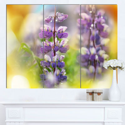 Designart Beautiful Blue Lupin Flowers Large Flower Canvas Art Print - 3 Panels
