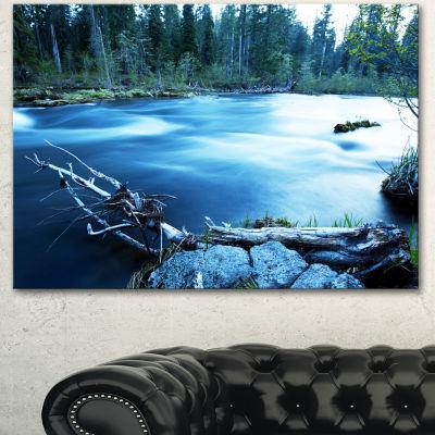 Designart Beautiful Blue River In Forest OversizedLandscape Canvas Art - 3 Panels