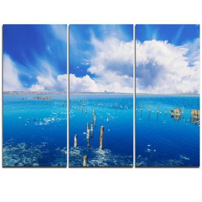 Designart Beautiful Blue Salk Lake Large SeascapeArt Triptych Canvas Print