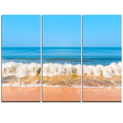 Designart Beautiful Blue Sea And Roaring Waves Beach Photo Triptych Canvas Print