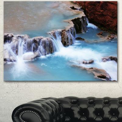 Designart Beautiful Blue Water Cascade Large Seashore Canvas Print
