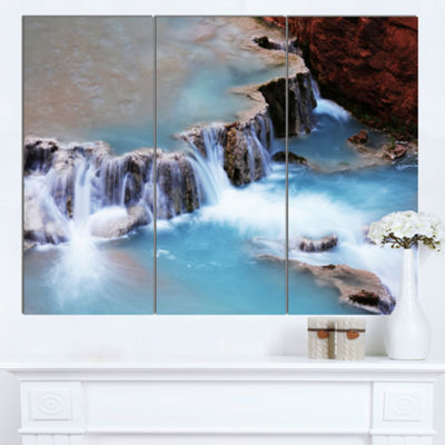 Designart Beautiful Blue Water Cascade Large Seashore Canvas Print - 3 Panels