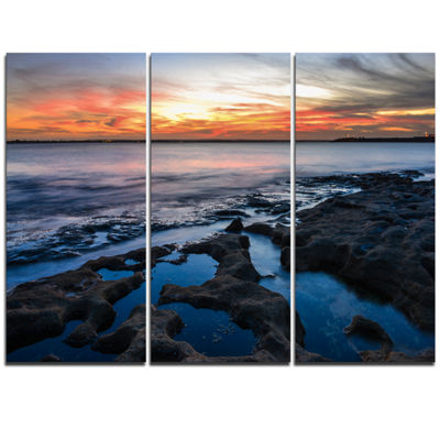 Designart Beautiful Blue Waters In Australia BeachLarge Seashore Triptych Canvas Print