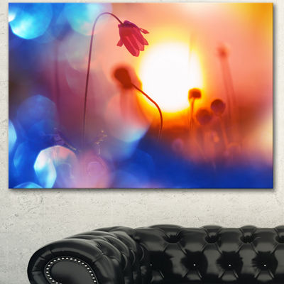 Designart Beautiful Blurred Flowers At Sunset Floral Canvas Art Print