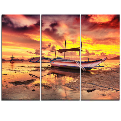 Designart Beautiful Boat Under Yellow Sky Modern Seashore Triptych Canvas Art