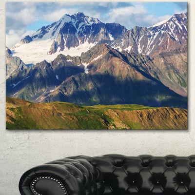 Designart Beautiful Caucasus Mountains Landscape Canvas Art Print - 3 Panels