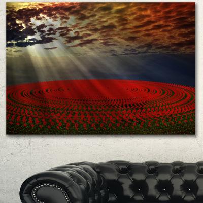 Designart Beautiful Circle d Flower Fields FloralCanvas Art Print - 3 Panels