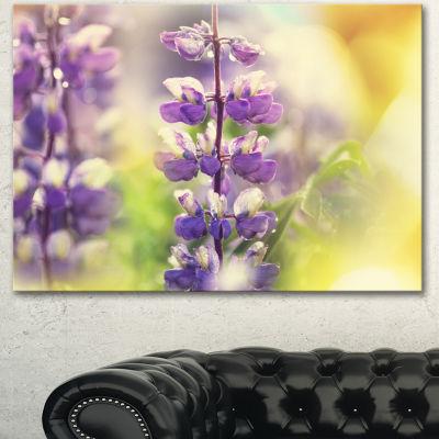 Designart Beautiful Close Up Of Blue Lupin FlowersLarge Flower Canvas Art Print - 3 Panels