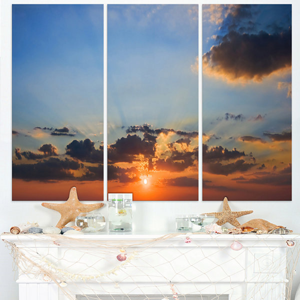 Designart Beautiful Cloudy Sunset Panorama Extra Large Seascape Art Triptych Canvas