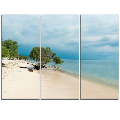 Designart Beautiful Coastline In Indonesia ModernSeascape Triptych Canvas Artwork