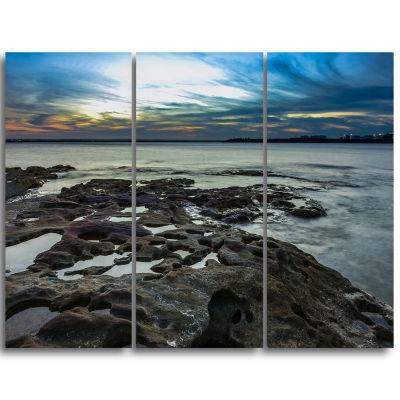 Designart Beautiful Dark Seashore Australia Cityscape Triptych Canvas Print