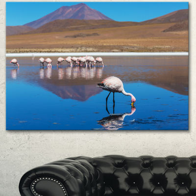 Designart Beautiful Flamingos In Bolivia African Landscape Canvas Art Print