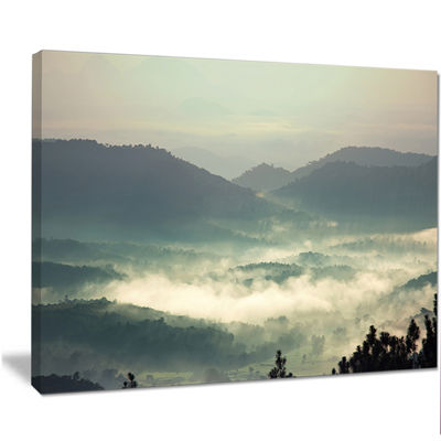 Designart Beautiful Foggy Hills In Sri Lanka BeachPhoto Canvas Print
