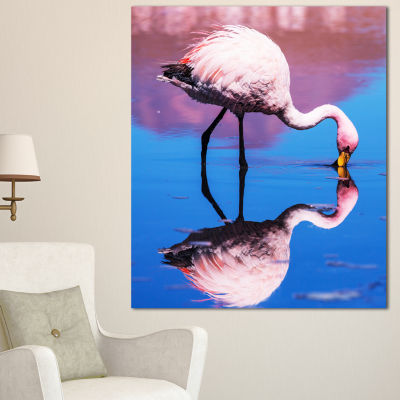 Designart Beautiful Food Seeking Flamingo Extra Large African Canvas Art Print - 3 Panels