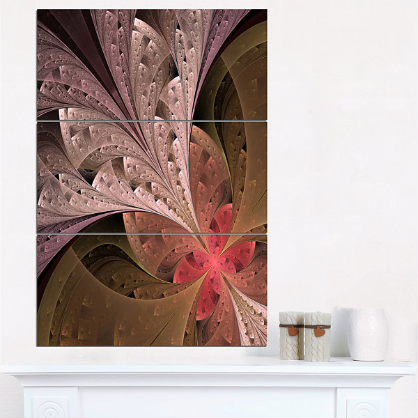 Designart Beautiful Fractal Flower In Beige FloralTriptych Canvas Art Print