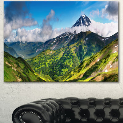 Designart Beautiful Green Mountains Panorama Landscape Canvas Wall Art
