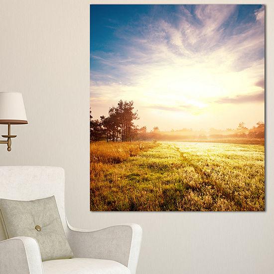 Designart Beautiful Green Pasture On Sunrise ExtraLarge Landscape Canvas Art