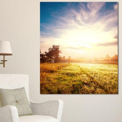 Designart Beautiful Green Pasture On Sunrise ExtraLarge Landscape Canvas Art - 3 Panels