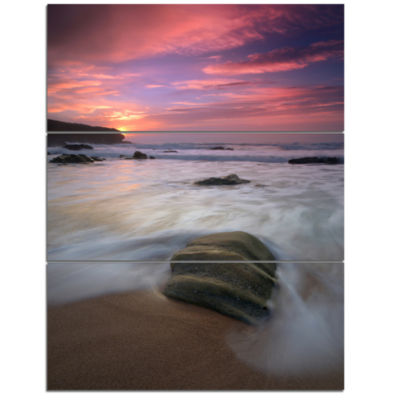 Designart Beautiful Guincho Beach In Portugal Seashore Triptych Canvas Art Print