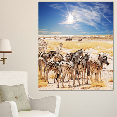 Designart Beautiful Herd Of Zebra On Bright Day African Wall Art Print
