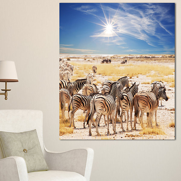 Designart Beautiful Herd Of Zebra On Bright Day African Wall Art Print - 3 Panels