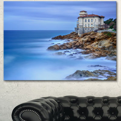 Designart Beautiful Italian Seashore View SeascapeCanvas Art Print - 3 Panels